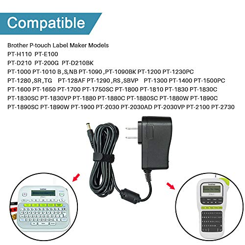 Ac Dc Adapter for Brother P-Touch PT-D210 PTD 210 PT-D200VP PTH110 Label Maker, UL Listed Power Supply Charger for Brother AD-24 AD-24ES AD-20 AD-30 (8.2FtLongCord)