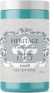 Heritage Collection All in One Chalk Style Paint Color: Amalfi (Blue Aqua) 16oz Pint
