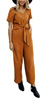 Women's Striped Linen Short Sleeves Wide Leg Palazzo Jumpsuit Romper with Zip Pockets Tie
