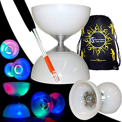 """Juggle Dream \""""Lunar Spin\"""" GLOW-LED Diabolo für Anfänger mit Diablo Alu Handstäbe und Diaboloschnur +Tragetasche! Jongliergeräte / Diabolo Für Kinder"""