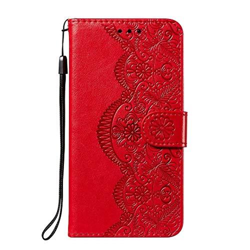Nokia 3.4 Hülle, stoßfest Premium PU Leder Stoßdämpfung Notebook Wallet Telefonhüllen mit Magnetständer Kartenhalter Bumper Flip Schutzhülle für Nokia 3.4 rot