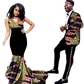 Wedding Dresses for Womens African Print Men Blazer Party Couple Sets Sexy V-Neck Skirts Black