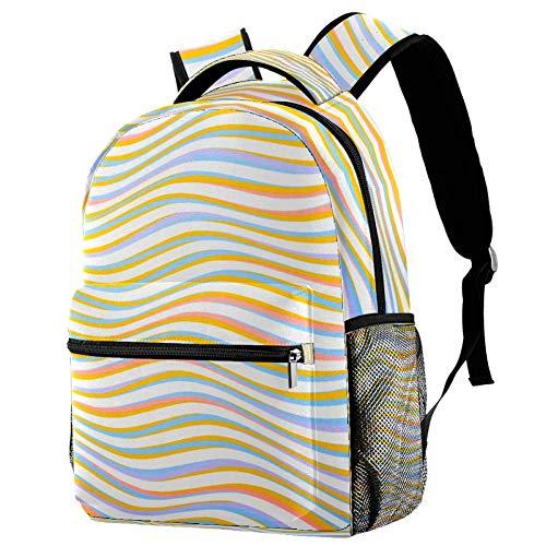 Schulrucksack für Kinder, bunte Wellen, Streifen, Kunst, 40,6 cm, kleiner Tagesrucksack für Vorschule, Kindergarten, Grundschule