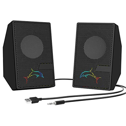 Computer Speakers Desktop PC Speakers with LED Lights, Desktop Speakers Small, 3.5mm Aux Jack, USB Speakers for PC Monitor Wired Volume Control, Black