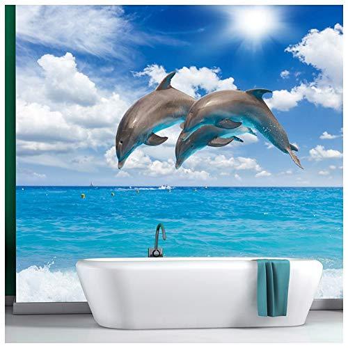 azutura Delphine Fototapete Blaues Meer Tapete Mädchen Schlafzimmer Badezimmer Wohnkultur Erhältlich in 8 Größen Riesig Digital