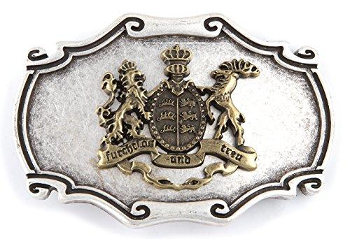 Unbekannt Trachten Gürtelschliesse, Gürtelschnalle mit Landeswappen Baden Württemberg! Wechselschnalle, Farbe silber