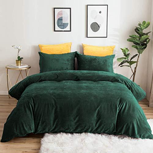 Lanqinglv Winter Bettwäsche 220x240cm Biber Dunkelgrün Grün Samtweichem Plüsch Flanell Unifarben Bettbezug mit Reißverschluss und 2 Kissenbezug 80x80cm