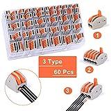 Blocchi connettori elettrici, Vibeey 60 pezzi Compact Connettore Connettori Filo Compatto con Leva a Molla, 20 morsetti a 2 vie (PCT-212), 30 morsetti a 3 vie (PCT-213), 10 morsetti a 5 vie (PCT-215)
