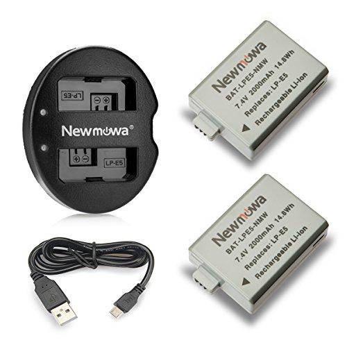 Newmowa LP-E5 Batería de Repuesto (2-Pack) y Kit de Cargador Doble para Canon LPE5 Canon EOS Rebel XS Rebel T1i Rebel XSi 1000D 500D 450D Kiss X3 Kiss X2 Kiss F