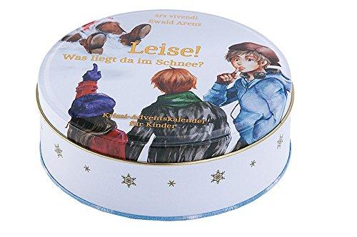 Adventskalender: Leise! Was liegt da im Schnee? - Adventskalender für Kinder mit Geschichte zum Vorlesen - In Blechdose mit 24 Karten zum Aufhängen