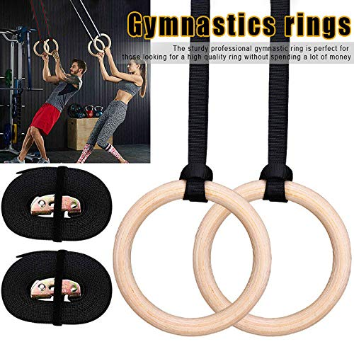 feeilty Gymnastic Rings, Wood Gymnastic Rings Adjustable Muscle Strength Training Home Fitness with Scales 28/32mm for Strength Training, Crossfit, Pull Ups and Dips (1pair)