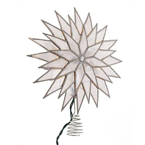 Kurt Adler 9-Inch Sunburst Capiz Lighted Treetop with Silver Glittered Finish