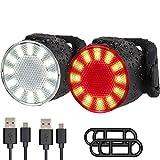 LED Bike Lights Set, USB Rechargeable Super Bright 6 Light Mode Options Waterproof Bicycle Lights Sets,Front...