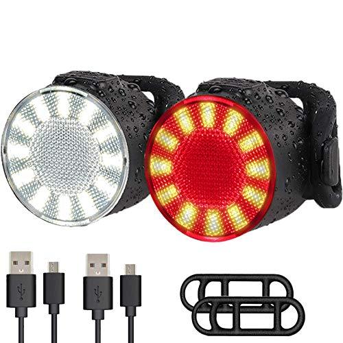 LED Luces Bicicleta, USB Recargables Impermeable Super brillantes 6 Modos de Luz, Resistentes al Agua, Luces Delanteras y Traseras, Perfectas para Ciclismo, al Aire Libre, Camping