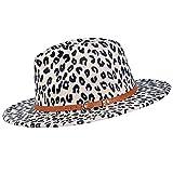 besbomig Sombrero de Jazz Fedora Trilby Cap de Fieltro de Moda para Mujer Hombre Gorra de ala Ancha para Viaje Fiesta Compras,Estampado de Leopardo Beige
