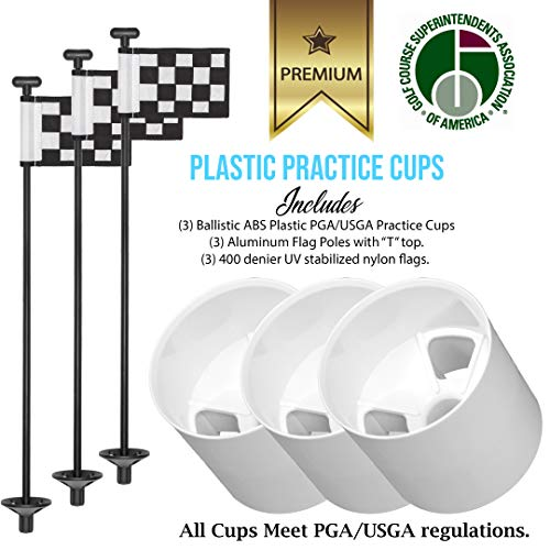 Golf City Products Golf Flag and Cup for Yard Practice Set, Mini Putting Green Flags and Poles (Plastic Cup Set (Black))