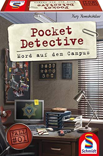 Schmidt Spiele 49377 Pocket Detective, Mord auf dem Campus, Krimi-und Dedektivspiel, Familienspiel