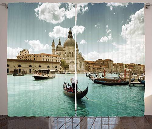 ABAKUHAUS Venedig Rustikaler Gardine, Basilika & Canal Grande, Schlafzimmer Kräuselband Vorhang mit Schlaufen & Haken, 280 x 260 cm, Türkis Beige