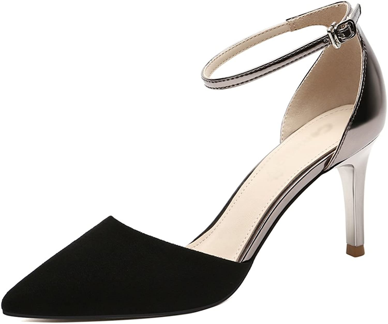 Sandals Female Summer Women's shoes Thin High Heels Ms (color   Black, Size   35)