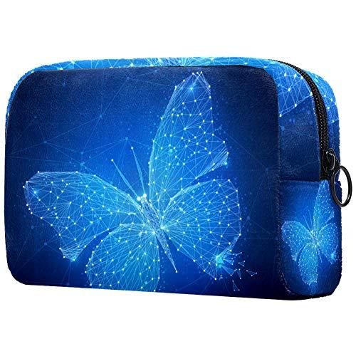 Trousse de toilette pour femme Motif papillon Bleu clair