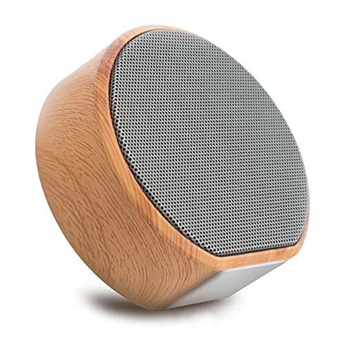 SCYMYBH Altavoz Bluetooth Mini Tarjeta Subwoofer Wood Grain Wireless Portable Coche Al Aire Libre Teléfono Móvil Audio (Color : Black)