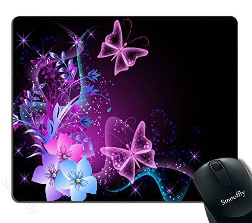 Smooffly Purple Mouse Pad for PC,Pink Purple Butterfly Design Personality Gaming Mouse Pad