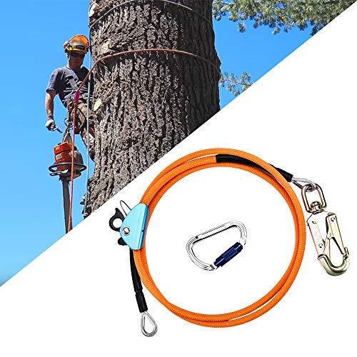 KKTECT Cuerda de Seguridad al Aire Libre Kits De Línea Abatible con Núcleo De Alambre De Acero con ajustador de mosquetón de Triple Bloqueo Estiramiento Bajo para Protección contra Caídas
