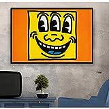 N/A Lienzo Pintura Decoración Cuadro En Lienzo Decoración Pintura Al Óleo Cuadro De Pared Cartel Moderno Arte De Pared Pop Art Keith Haring AbstractoMinimalista Hogar Navidad Año Nuevo Regalo