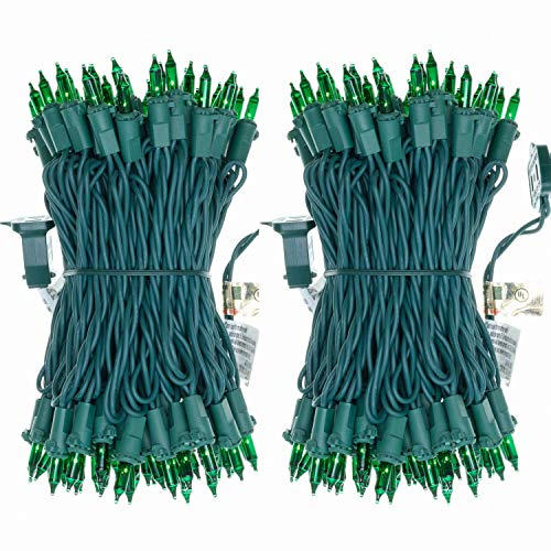 UL Certified 66 Feet 200 Count Green Christmas String Lights, Pack of 2 Sets 33 Ft 100 Count Commercial Grade Lights Set, Connectable Decor Lights for Patio Garden Wedding Holiday (Green - Green Wire)