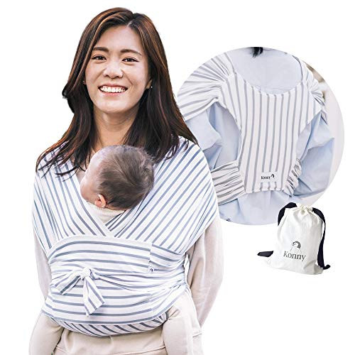 Konny Baby Carrier | Ultra-Lightweight, Hassle-Free Baby Wrap Sling | Newborns, Infants to 44 lbs Toddlers | Soft and Breathable Fabric | Sensible Sleep Solution (Stripe, XL)