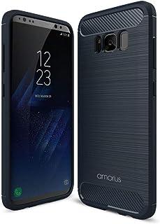 لهاتف سامسونج جالاكسي S8 G950 - غطاء هاتف خلوي من ألياف الكربون من AMORUS - أزرق غامق