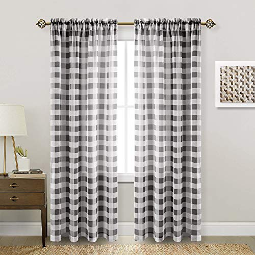 Hiasan Buffalo Plaid Sheer Curtains for Living Room - Faux Linen Voile Checkered Window Curtains for Bedroom and Farmhouse, 52 X 84 Inches Long, Set of 2 Curtain Panels, Black and White