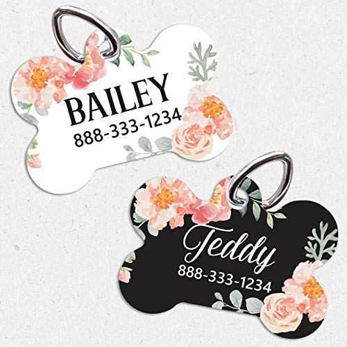 Pet ID Tag | Single/Double Sided Dog | Tag for Dog | ID Tag Floral | Custom Pet Tag | French Floral Dog Tag | Personalized Floral Pet Tag