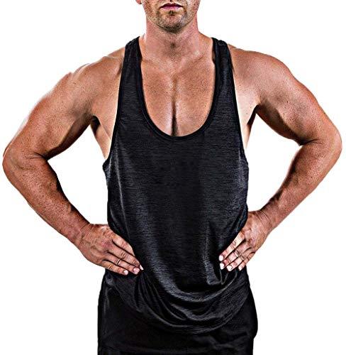 Herren Gym Muscle Weste Solid Color Low Cut Bodybuilding Tank Top Technische Stringer Lifting Fitness Übung Laufen Outfit Tops M-XXL (XXXL, schwarz 2)