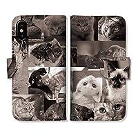 301-sanmaruichi- ARROWS 5G F-51A 手帳型 ケース アローズ ケース スマホケース PUレザー カード収納 おしゃれ cat 猫 ねこ ぶさかわ 黒猫 モノクロ 写真 プリントデザイン H 手帳ケース