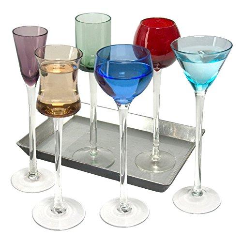 7-teiliges Set Langer Stiel Likör | Artland Likör Jewel Tone Cordial Set, Brillen, Apertif Gerahmter Kunstdruck, Digestif Gläser