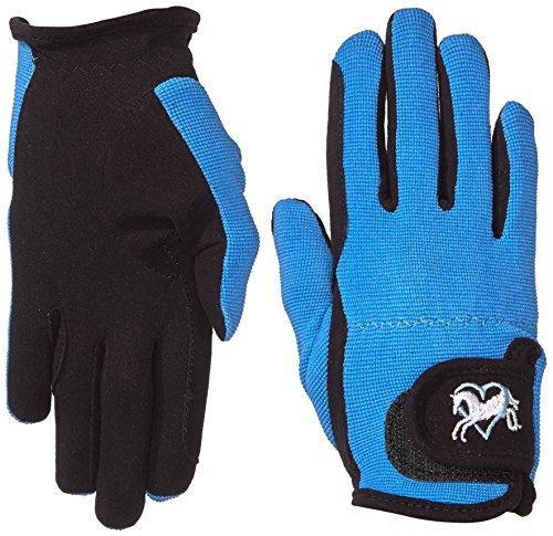 Riders Trend Damen Reiter Handschuhe Reithandschuhe Amara Palm mit Elastan-Material Atmungsaktive, Black/Sky, cm