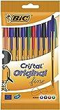 BIC Cristal Original Fine - Bolígrafos punta fina (0.8 mm), Blíster de 10 unidades, Colores Surtidos