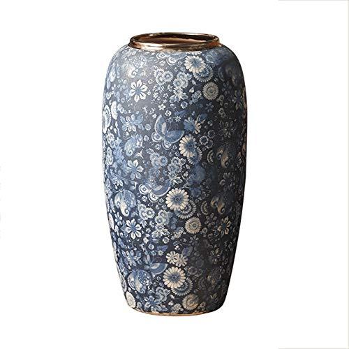 WXFXBKJ Jingdezhen Vintage-Blau und Weiß Vom Boden bis zur Decke Vase, Antike Keramik Blume, im chinesischen Stil Hauptdekoration Ornamente, Drama Requisiten Vasen (Size : A-M)