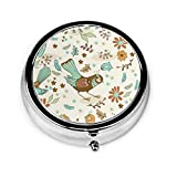 Color12 Round Pill Box,Christmas Pattern Pine Tree Medicine Case Round with 3 Component, Portable Metal Pill Tablet Organizer Case Vitamin Holder for Pocket Purse Daily