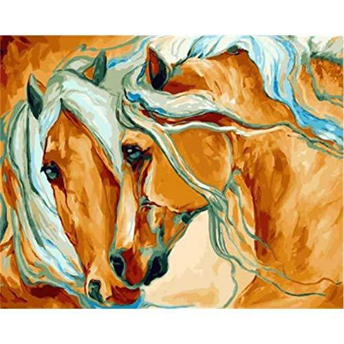 VFDGB 60X75Cm Schilderen op nummer Diy Warm uitziend paard Dier Muurkunst Foto Acryl schilderij Decoratie