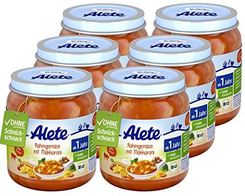 Alete Bio Gläschen Rahmgemüse mit Makkaroni, Babynahrung in Bio-Qualität, ohne Zusatz von Aromastoffen & Zucker, Menü ab 1 Jahr, 6er Pack (6 x 250 g)