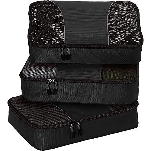 eBags Medium Packing Cubes - 3pc Set (Black)