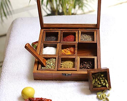 Anayra'S Rosewood Spice Box Masala Box Masala Dani (Removable Partitions)