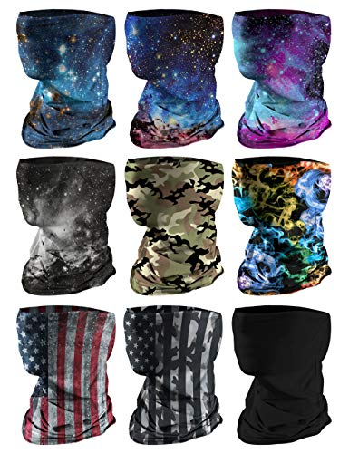 9 PCS Kids Face Mask Neck Gaiters Full-Coverage Bandanas Headband Tube Neck for Boys Girls(C Colorful 1/Pack of 9, 7-10T/8.2713.39inch)