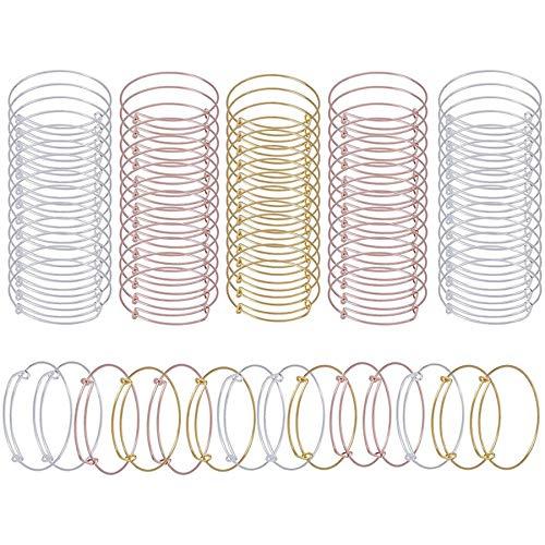 Vaorwne 75Pcs Expandable Bangle Bracelet Adjustable Bracelets Blank Wire Bangle for Women DIY Jewelry Making