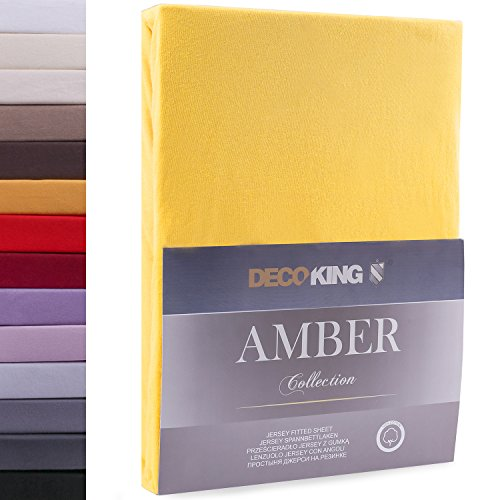 DecoKing 80x200-90x200 cm Sábana Bajera Ajustable 100% Algodón Jersey Naranja Amber Collection