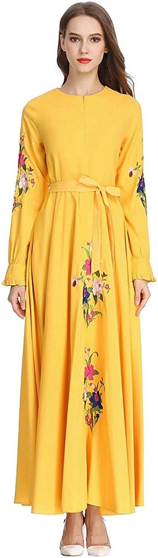 Bravetoshop Women High Waist Plus Szie Muslim Longsleeve Arab Dress Islam Jilbab Dress Ramadan