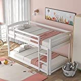 Bunk Beds Twin Over Twin Size, Wood Bunk Beds Low Profile for Kids,...