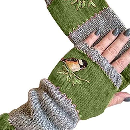Crazy Ling Mode Frauen Vögel Stickerei Handschuhe Hand häkeln Daumenloch Armwärmer Fäustlinge Gestrickte Fingerlose Fäustlinge Handschuhe Winter, Samt Farbblock Spleißhandschuhe (Grün)